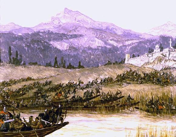 Взятие города Бердаа во время похода русских на Каспийское море
